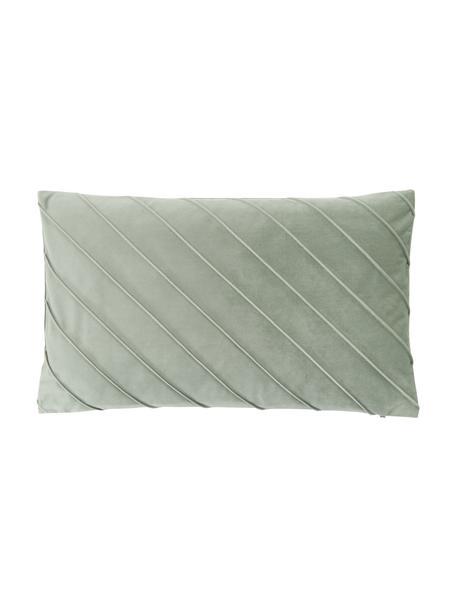 Fluwelen kussenhoes Leyla in saliegroen met structuurpatroon, Fluweel (100% polyester), Groen, 30 x 50 cm