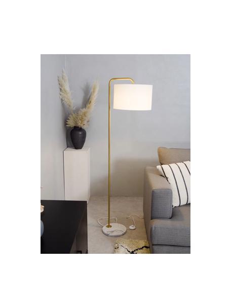 Lampada da lettura con base in marmo Montreal, Paralume: tessuto, Base della lampada: marmo, Struttura: metallo zincato, Bianco, dorato, Ø 35 x Alt. 155 cm