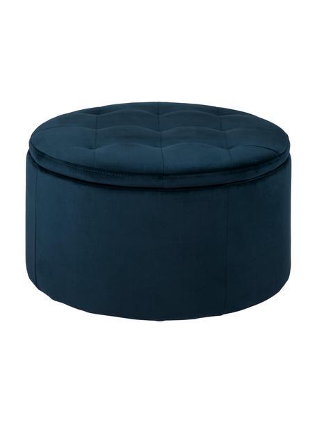 Fluwelen poef Retina met opbergruimte in blauw, Polyester fluweel, kunststof, Blauw, transparant, Ø 60 x H 35 cm