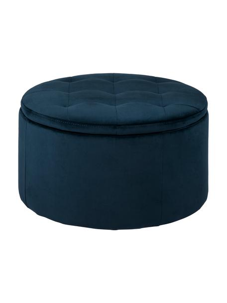Puf de terciopelo Retina, con espacio de almacenamiento, Tapizado: terciopelo de poliéster 2, Estructura: tablero de fibras de dens, Azul, Ø 60 x Al 35 cm
