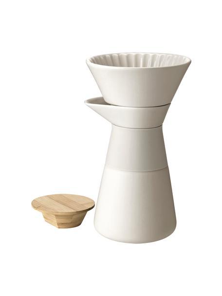 Caffettiera color crema opaco Theo, Coperchio: legno di bambù, Manico: termoisolante silicone, Crema, 600 ml