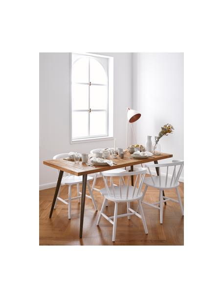 Tavolo con piano in legno massello Kapal, Piano d'appoggio: teak massiccio riciclato , Gambe: acciaio con tracce metall, Legno di teak, Larg. 140 x Prof. 80 cm