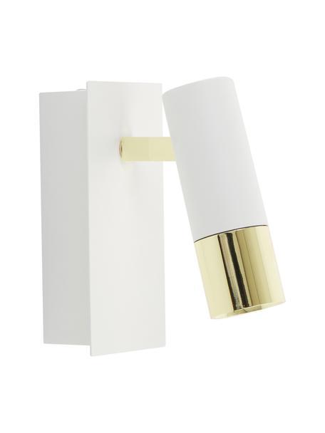 LED-Wandstrahler Bobby in Weiss-Gold, Lampenschirm: Metall, pulverbeschichtet, Weiss, 7 x 15 cm