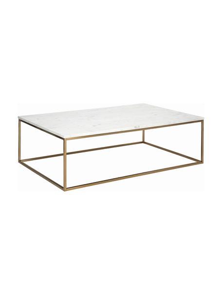 Großer Marmor-Couchtisch Alys, Tischplatte: Marmor, Gestell: Metall, beschichtet, Weißer Marmor, Goldfarben, 120 x 35 cm