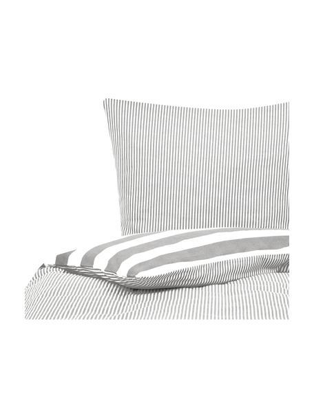 Dwustronna pościel z flaneli Dora, Biały, szary, 135 x 200 cm + 1 poduszka 80 x 80 cm