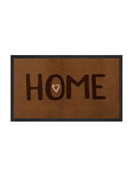 Polyamid-Fußmatte Lovely Home, Vorderseite: Polyamid, Rückseite: Gummi, Brauntöne, 45 x 75 cm