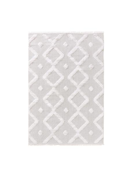 Alfombra lavable algodón texturizada Oslo, estilo boho, 100%algodón, Blanco crema, beige, An 75 x L 150 cm (Tamaño XS)