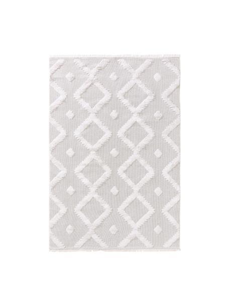 Waschbarer Boho Baumwollteppich Oslo mit Hoch-Tief-Muster, 100% Baumwolle, Cremeweiß, Beige, B 75 x L 150 cm (Größe XS)