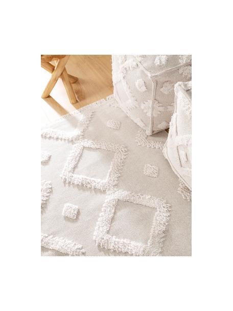 Wasbaar katoenen vloerkleed Oslo met hoog-laag structuur, 100% katoen, Crèmewit, beige, B 75 x L 150 cm (maat XS)