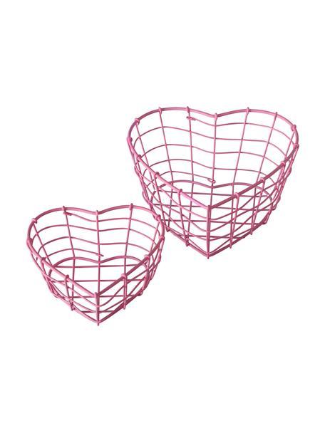 Set 2 cestini a forma di cuore Rina, Metallo rivestito, Rosa, Set in varie misure