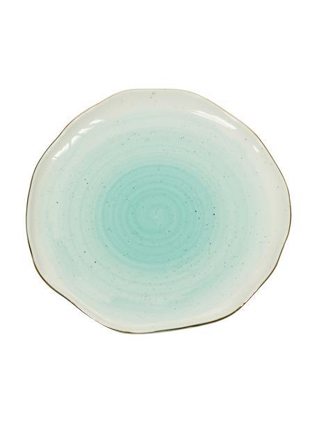 Handgemachte Speiseteller Bella mit Goldrand, 2 Stück, Porzellan, Türkisblau, Ø 26 x H 3 cm