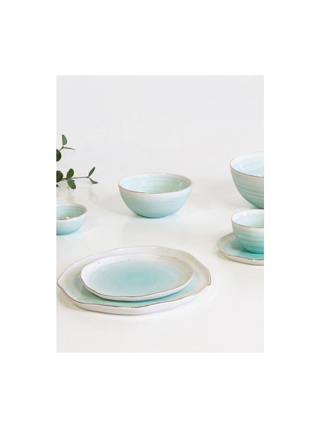 Handgemaakte dinerborden Bella met goudkleurige rand, 2 stuks, Porselein, Turquoiseblauw, Ø 26 x H 3 cm