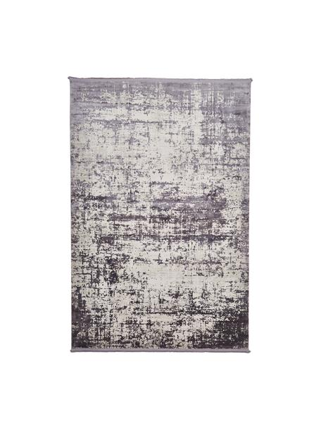 Glanzend vloerkleed Cordoba in grijstinten met franjes, vintage stijl, Bovenzijde: 70% acryl, 30% viscose, Onderzijde: 100% katoen, Grijstinten met lichte lilatint, B 80 x L 150 cm (maat XS)