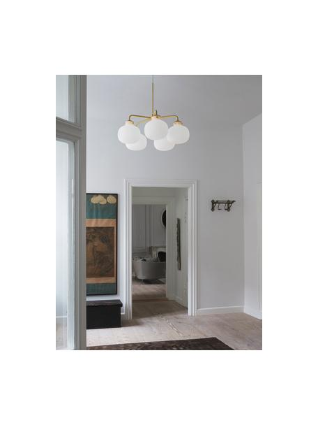 Duża lampa wisząca ze szkła Raito, Biały, opalowy, odcienie mosiądzu, Ø 67 cm x W 55 cm