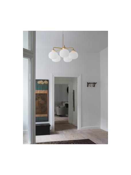 Grote hanglamp Raito van glas, Lampenkap: opaalglas, Decoratie: metaal, Baldakijn: kunststof, Opaalwit, messingkleurig, Ø 67  x H 55 cm