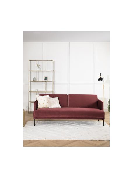 Samt-Sofa Fluente (3-Sitzer) in Rostrot mit Metall-Füßen, Bezug: Samt (Hochwertiger Polyes, Gestell: Massives Kiefernholz, Füße: Metall, pulverbeschichtet, Webstoff Muster, B 196 x T 85 cm