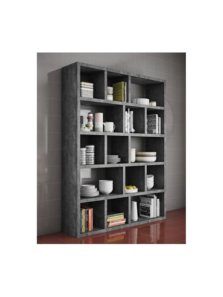 Großes Bücherregal Portlyn in Beton-Optik, Oberfläche: Melaminschicht., Grau, 150 x 198 cm