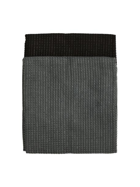 Baumwoll-Geschirrtücher Waffelpiqué mit glänzenden Fäden in Silber und Kupfer, 4er-Set, 100% Baumwolle, Lurexfaden, Dunkelgrau, Schwarz, 50 x 70 cm