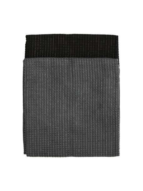 Paños de cocina de algodón Waffelpiqué, 4uds., 100%algodón, tejido Lurex, Gris oscuro, negro, An 50 x L 70 cm