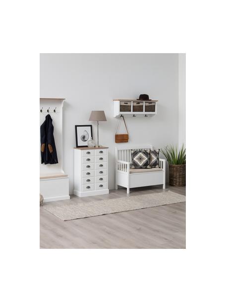Zitbank Emma met opbergruimte, Bekleding: polyester, Frame: gelakt MDF, Wit, 90 x 85 cm