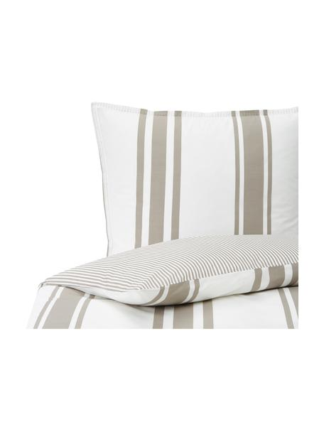 Dwustronna pościel z organicznego perkalu z efektem sprania Kinsley, Beżowy, biały, 135 x 200 cm + 1 poduszka 80 x 80 cm