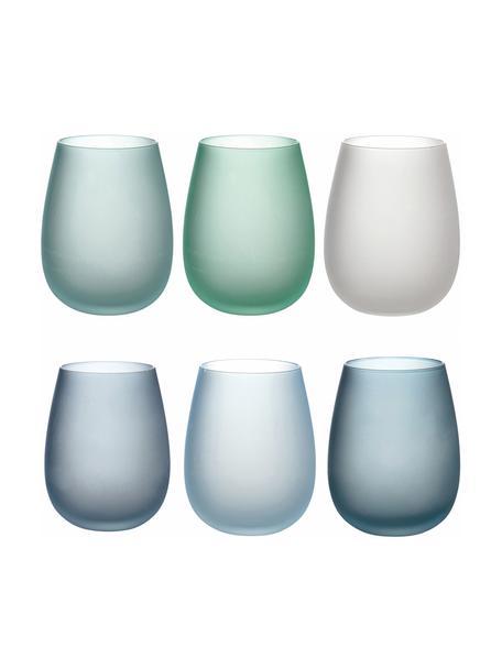 Vasos de colores Happy Hour, 6uds., Vidrio, Tonos azules, Ø 7 x Al 11 cm