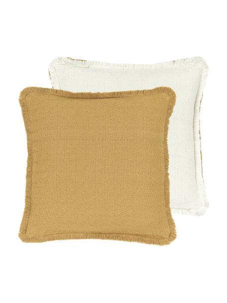 Dwustronna poszewka na poduszkę z frędzlami Loran, 100% bawełna, Żółty, S 40 x D 40 cm