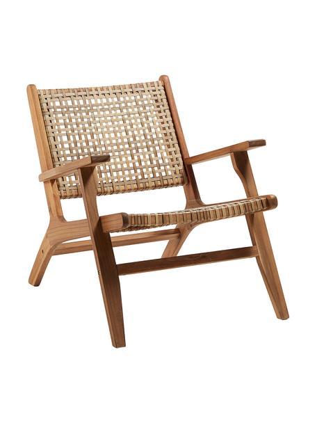 Loungefauteuil Noon met rotan vlechtwerk, Frame: massief acaciahout, Acaciahoutkleurig, beige, B 68 x D 80 cm