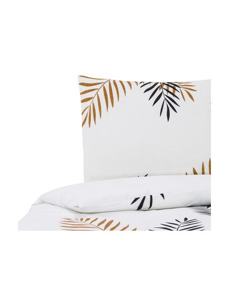 Dubbelzijdig beddengoed Foliage, Katoen, Zwart, okergeel, wit, 140 x 200 cm + 2 kussen 60 x 70 cm