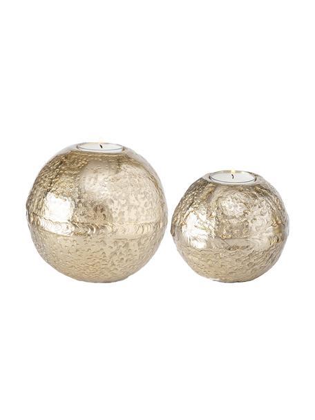 Set de portavelas Fusine, 2pzas., Aluminio recubierto, Dorado, Set de diferentes tamaños