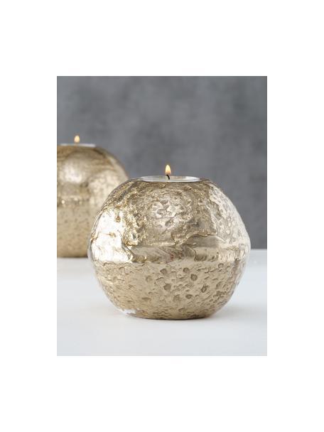 Teelichthalter-Set Fusine, 2 tlg., Aluminium, beschichtet, Goldfarben, Set mit verschiedenen Grössen