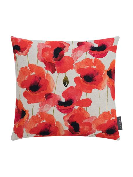 Kussenhoes Poppy met klaproos motief, 85% linnen, 15% katoen, Rood, wit, zwart, 40 x 40 cm