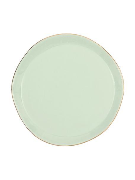 Dessertbord Good Morning in mintgroen met goudkleurige rand, Ø 17 cm, Keramiek, Mint, goudkleurig, Ø 17 cm