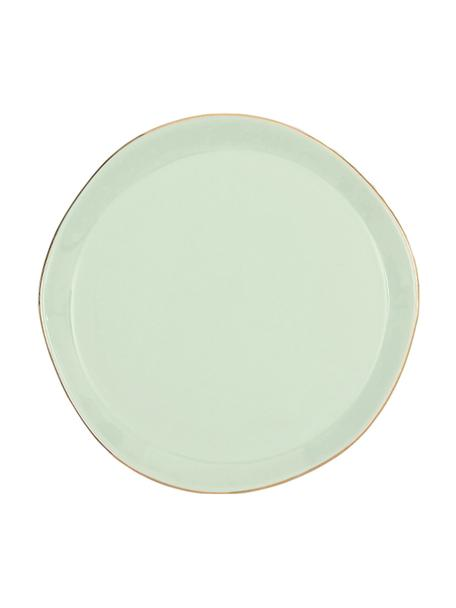 Piattino da dessert con bordo dorato Good Morning, Ø 17 cm, Porcellana, Verde menta, dorato, Ø 17 cm