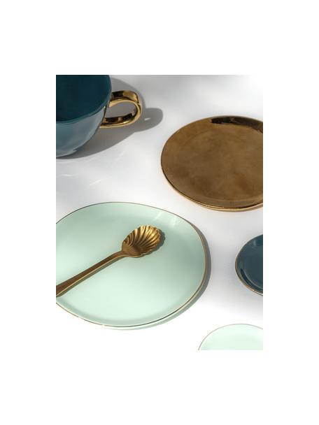 Broodbord Good Morning in mintgroen met goudkleurige rand, Ø 17 cm, Porselein, Mint, goudkleurig, Ø 17 cm