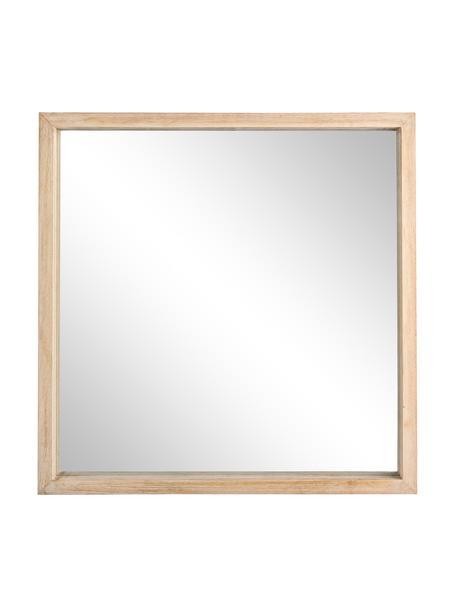 Eckiger Wandspiegel Tiziano mit beigem Paulowniaholzrahmen, Rahmen: Paulowniaholz, Spiegelfläche: Spiegelglas, Beige, 52 x 52 cm