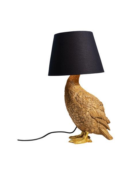 Grote design tafellamp Duck, Lampenkap: katoen, Lampvoet: polyresin, Goudkleurig, zwart, 31 x 58 cm