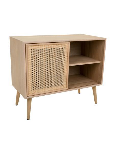 Ladekast Cayetana van hout, Frame: MDF, fineer, Handvatten: metaal, Poten: bamboehout, gelakt, Bruin, 80 x 67 cm