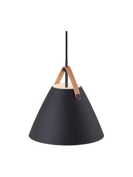Hanglamp Strap met verwisselbare leren band, Lampenkap: gepoedercoat metaal, Baldakijn: kunststof, Zwart, Ø 27  x H 25 cm