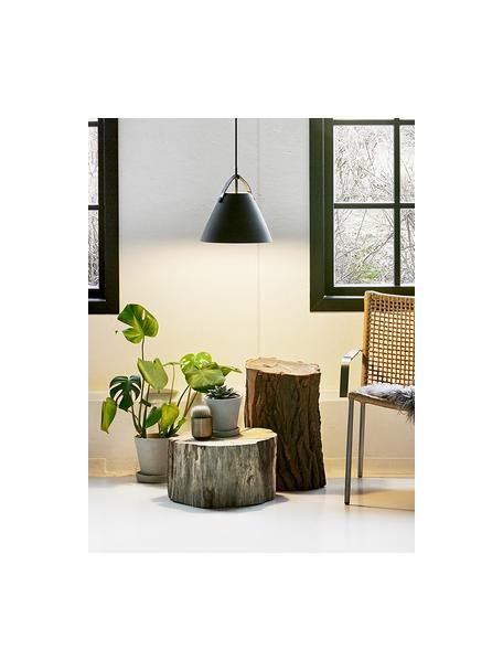 Pendelleuchte Strap mit austauschbarem Lederband, Lampenschirm: Metall, pulverbeschichtet, Baldachin: Kunststoff, Schwarz, Ø 27 x H 25 cm