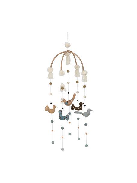 Mobil Birds, Stelaż: drewno naturalne, Tapicerka: filc wełniany, Wielobarwny, Ø 36 x W 105 cm