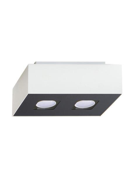 Kleine plafondspot Hydra, Lampenkap: gecoat staal, Baldakijn: gecoat staal, Wit, zwart, 24 x 11 cm