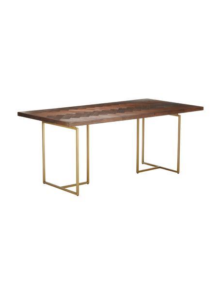 Stół do jadalni w jodełkę z litego drewna Class, Blat: płyta pilśniowa o średnie, Nogi: metal malowany proszkowo, Drewno akacjowe, odcienie mosiądzu, S 180 x G 90 cm