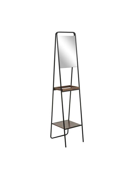 Mobile da pavimento con specchio Benneth, Struttura: metallo, verniciato, Ripiani: pannello di fibra a media, Nero, Larg. 35 x Alt. 164 cm
