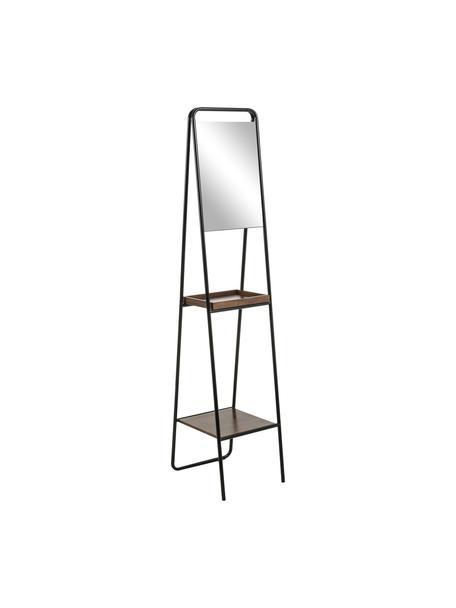 Standspiegel Benneth mit zwei Ablageflächen, Rahmen: Metall, beschichtet, Ablagefläche: Walnussholz, Spiegelfläche: Spiegelglas, Schwarz, 35 x 164 cm