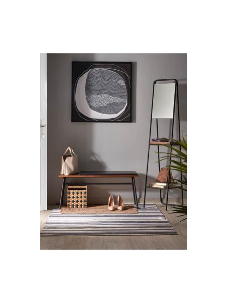 Vloerspiegel Benneth met twee plateaus, Frame: gecoat metaal, Plank: walnoothout, Zwart, 35 x 164 cm