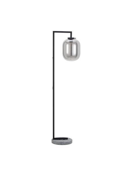Lampada da terra con base in marmo Leola, Paralume: vetro cromato, Struttura: metallo verniciato, Base della lampada: marmo, Cromato, nero, Ø 38 x Alt. 150 cm