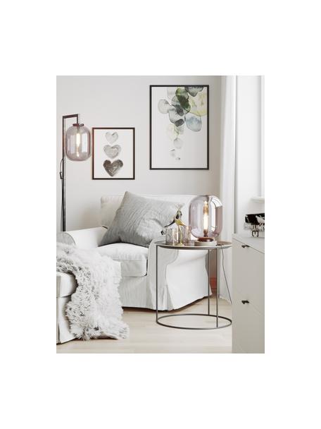 Stehlampe Leola mit Marmorfuß und Glasschirm, Lampenschirm: Glas, verchromt, Gestell: Metall, lackiert, Lampenfuß: Marmor, Chromfarben, Schwarz, 38 x 150 cm