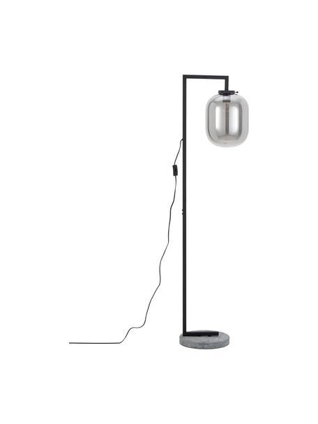 Lámpara de pie de mármol Leola, Pantalla: vidrio espejado, Estructura: metal pintado, Cable: plástico, Cromo, negro, Ø 38 x Al 150 cm