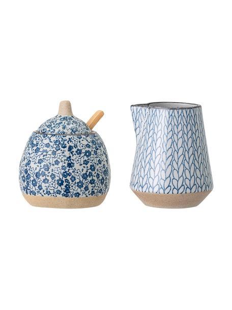 Handgefertigtes Milchkännchen & Zuckerdose Camellia aus Porzellan, 2er-Set, Blau, Set mit verschiedenen Größen